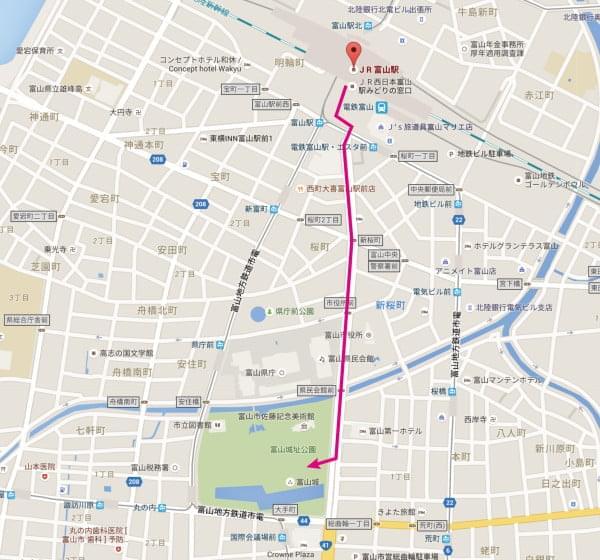 富山駅から富山城地図