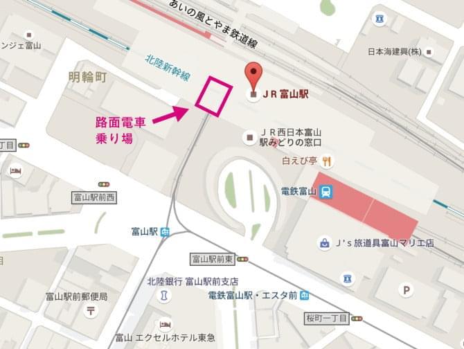 路面電車乗り場地図